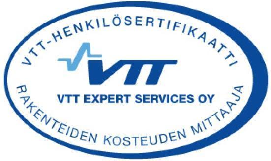 VTT-sertifikaatti rakenteiden kosteuden mittaaja Termolog Oy