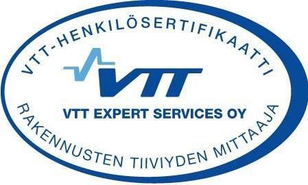 VTT-sertifikaatti rakenteiden tiiviyden mittaaja Termolog Oy